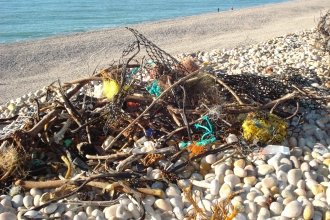 Pile of litter on Chesil Beach © Sally Welbourn