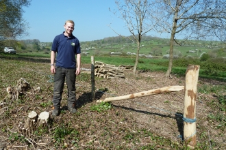 Trainee Ed Sanger building his first fence by Leo Henley Lock