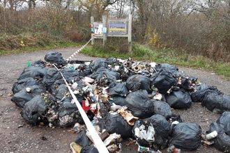 Fly-tipping on Powerstock Nature Reserve Nov 2020 by Lucy Ferris